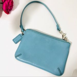 Coach Light Blue Leather Wristlet